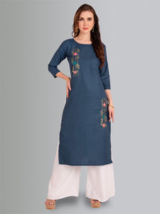 Navy Blue Cotton Fancy Embroidery Kurti