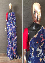 Load image into Gallery viewer, Navy Blue Printed Georgette Pearl Border Saree