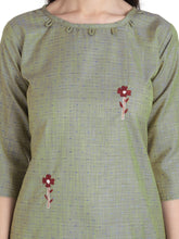 Load image into Gallery viewer, Olive Green Stylish Cotton Embroidered Kurti