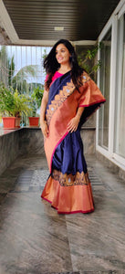 Orange Blue Silk Saree with Woven Design