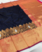 Load image into Gallery viewer, Orange Blue Silk Saree with Woven Design
