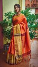 Load image into Gallery viewer, Orange Muslin Silk Saree with Golden Border