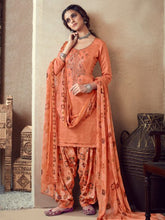 Load image into Gallery viewer, Orange Printed Cotton Patiala Suit
