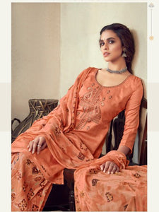 Orange Printed Cotton Patiala Suit