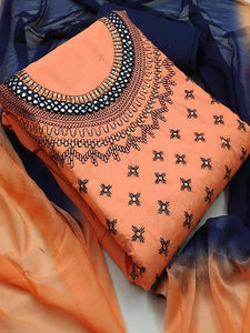 Orange And Blue Cotton Salwar Suit