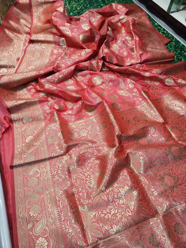 Buy Peach Zari Woven Kanchipuram Handloom Saree Online from Dhaga Fashion