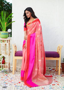 Buy Peach and Pink Soft Linen Silk Saree Online from Dhaga Fashion