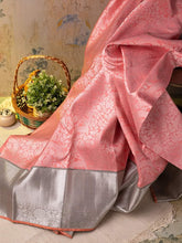 Load image into Gallery viewer, Peach Kanjivaram Silk Saree With Silver Border