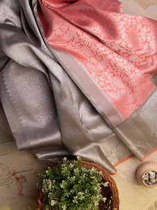 Peach Kanjivaram Silk Saree With Silver Border