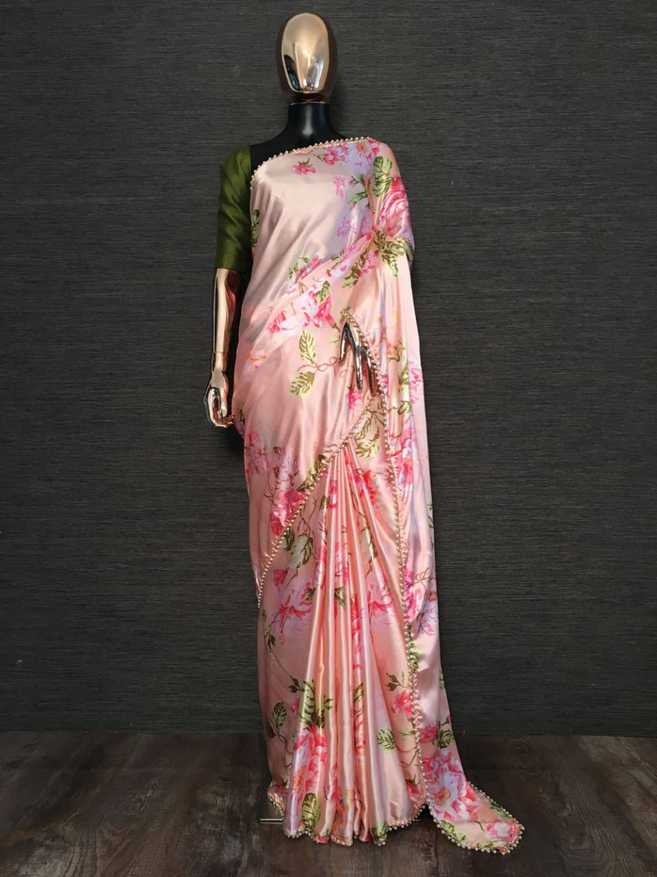 Peach Pearl Lace Floral Japan Satin Saree With Green Blouse