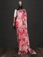 Load image into Gallery viewer, Pink Floral Printed Pearl Lace Satin Silk Party Wear Saree
