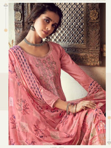Pink Printed Cotton Patiala Suit