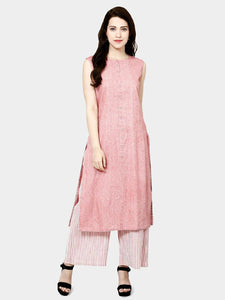Pink Solid Cotton Kurti With Plazo