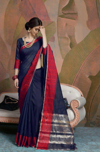 Plain Blue and Red Linen Silk Saree