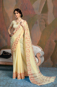 Plain Designer Yellow Linen Silk Saree
