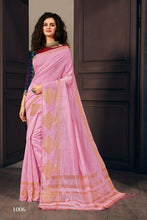 Load image into Gallery viewer, Plain Pink Pure Linen Silk Saree