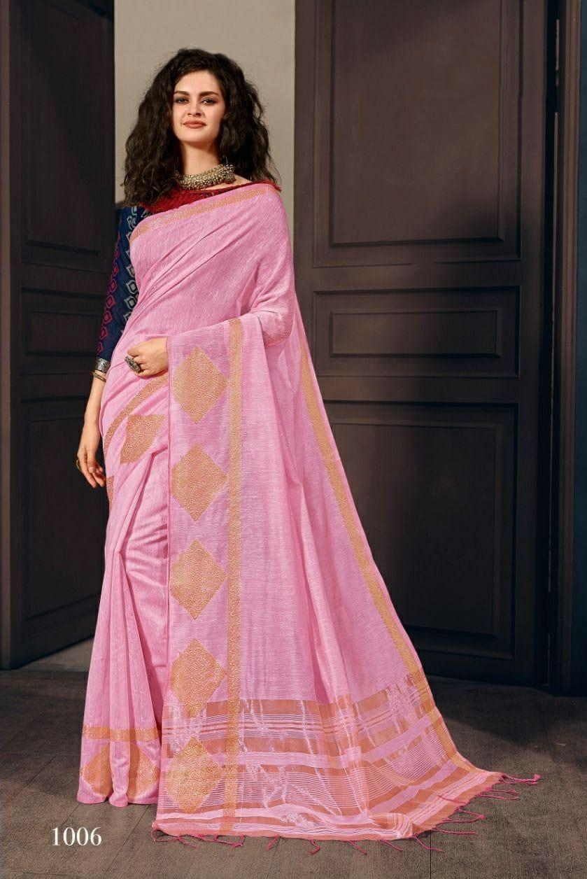 Plain Pink Pure Linen Silk Saree
