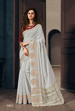 Load image into Gallery viewer, Plain Grey Pure Linen Silk Saree
