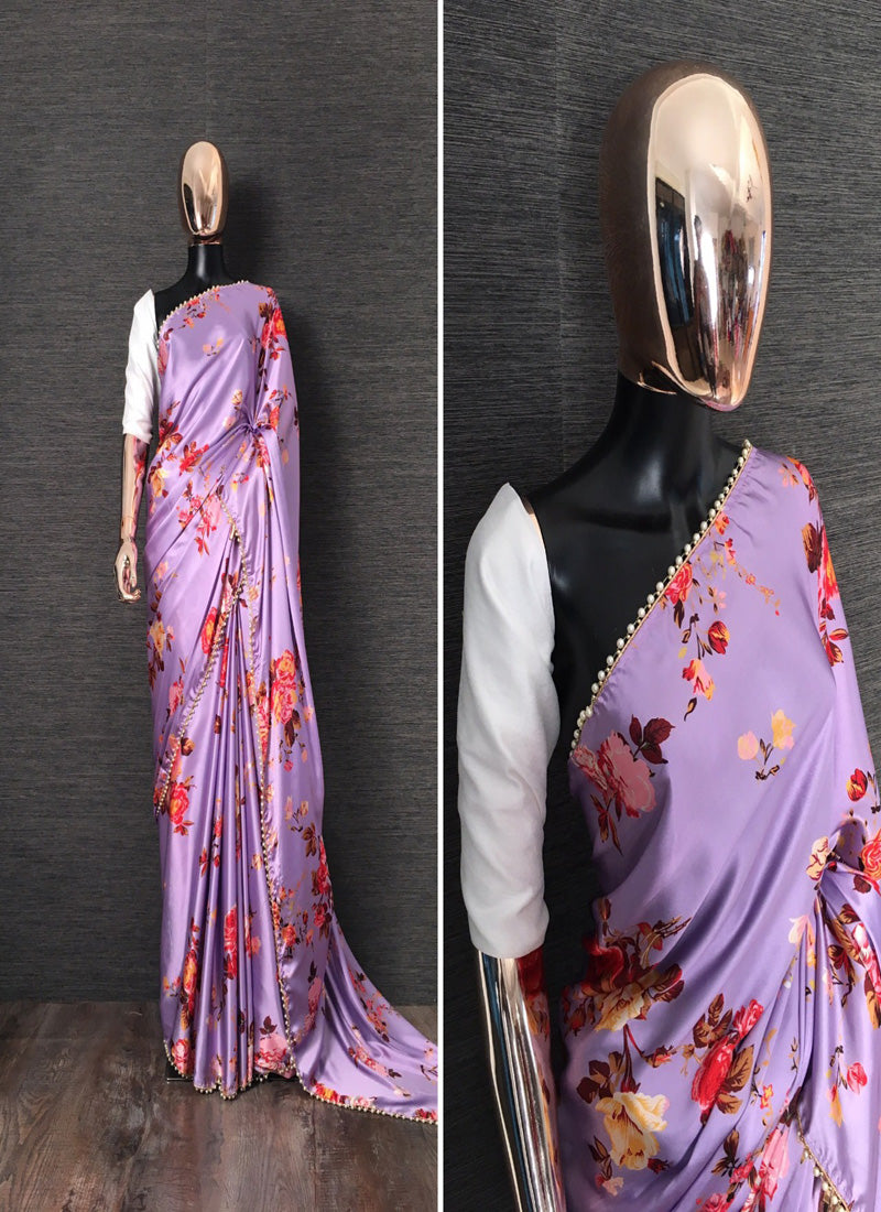 Buy Purple Floral Printed Satin Silk Saree Online from Dhaga Fashion