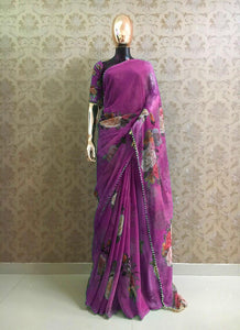 Purple Party Wear Pure Georgette Saree