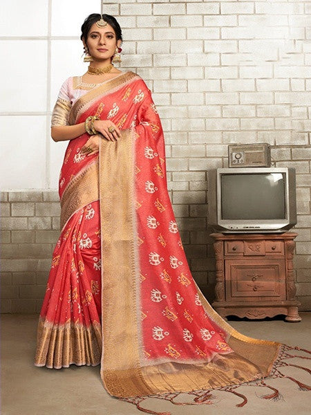 Red Printed Linen Saree With Golden Border