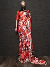 Load image into Gallery viewer, Red White Pearl Lace Floral Japan Satin Saree With Red Blouse