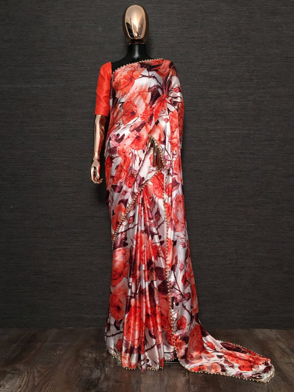 Red White Pearl Lace Floral Japan Satin Saree With Red Blouse