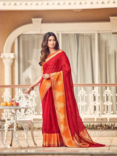 Red Woven Design Kota Silk Saree