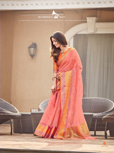 Peach Color Woven Design Kota Silk Saree