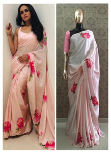 Peach and Pink Floral Printed Satin Silk Saree