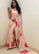 Load image into Gallery viewer, Peach and Pink Floral Printed Satin Silk Saree