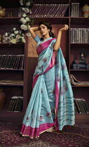 Blue Linen Silk Saree