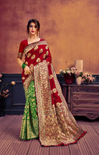 Load image into Gallery viewer, Green & Maroon Banarasi Silk Saree