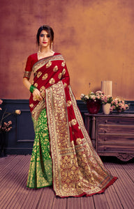 Green & Maroon Banarasi Silk Saree