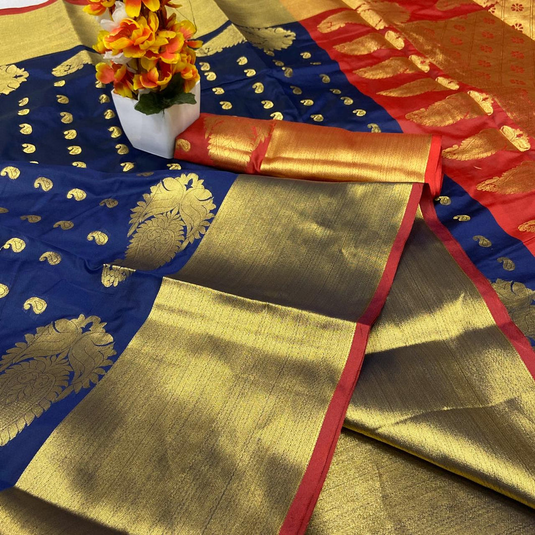 Navy Kanchipuram Pure Silk Saree with Golden Border
