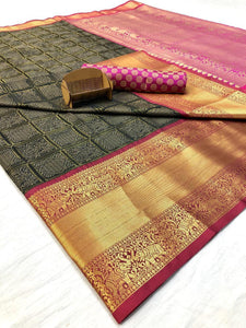Pink and Black Handloom Kanchipuram Silk Saree