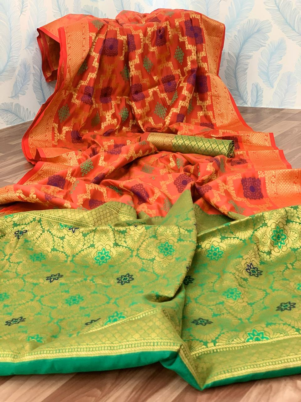 Orange Kanjeevarm Soft Silk Saree