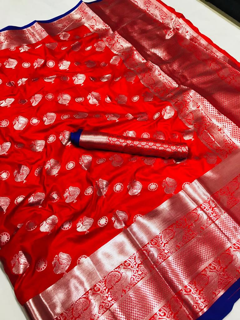 Red Zari Woven Silk Saree