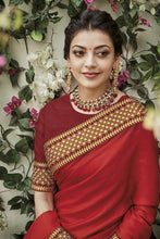 Load image into Gallery viewer, Kajal Agarwal Red Designer Silk Saree