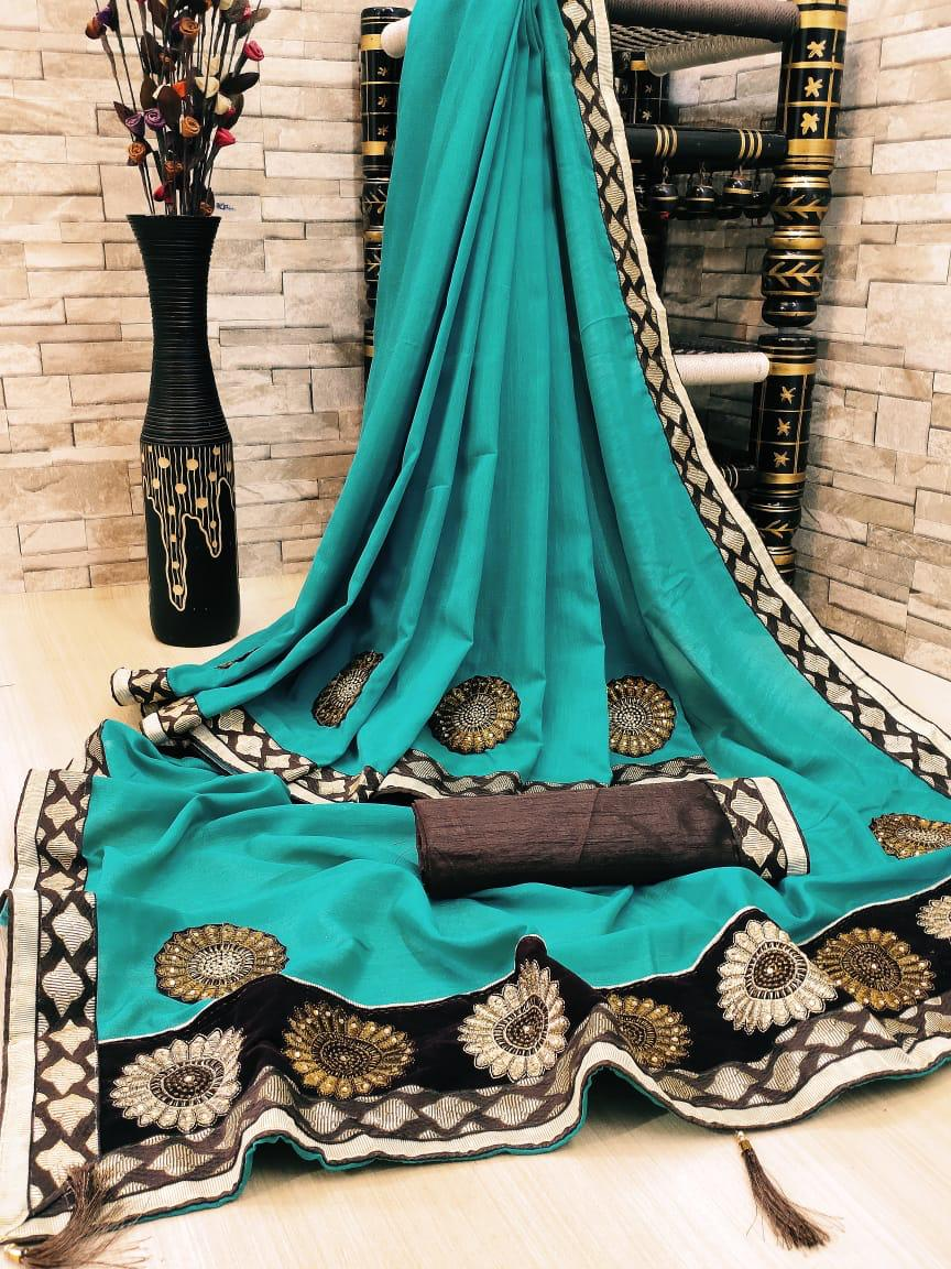 Rama Green Embroidered Women Silk Saree