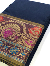 Load image into Gallery viewer, Blue Cotton Silk Saree With Jacquard Weaving