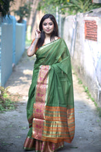 Load image into Gallery viewer, Green Cotton Silk Saree With Jacquard Weaving