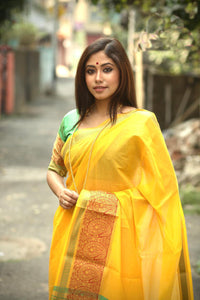 Yellow Cotton Silk Saree With Jacquard Weaving
