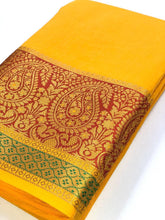 Load image into Gallery viewer, Yellow Cotton Silk Saree With Jacquard Weaving