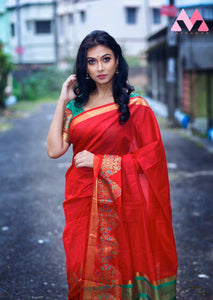Orange Cotton Silk Saree With Jacquard Weaving