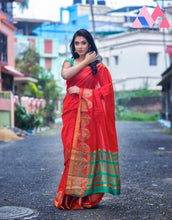 Load image into Gallery viewer, Orange Cotton Silk Saree With Jacquard Weaving