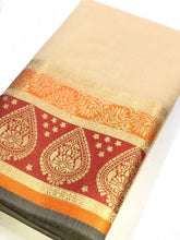 Load image into Gallery viewer, Beige Cotton Silk Embellished Printed Saree