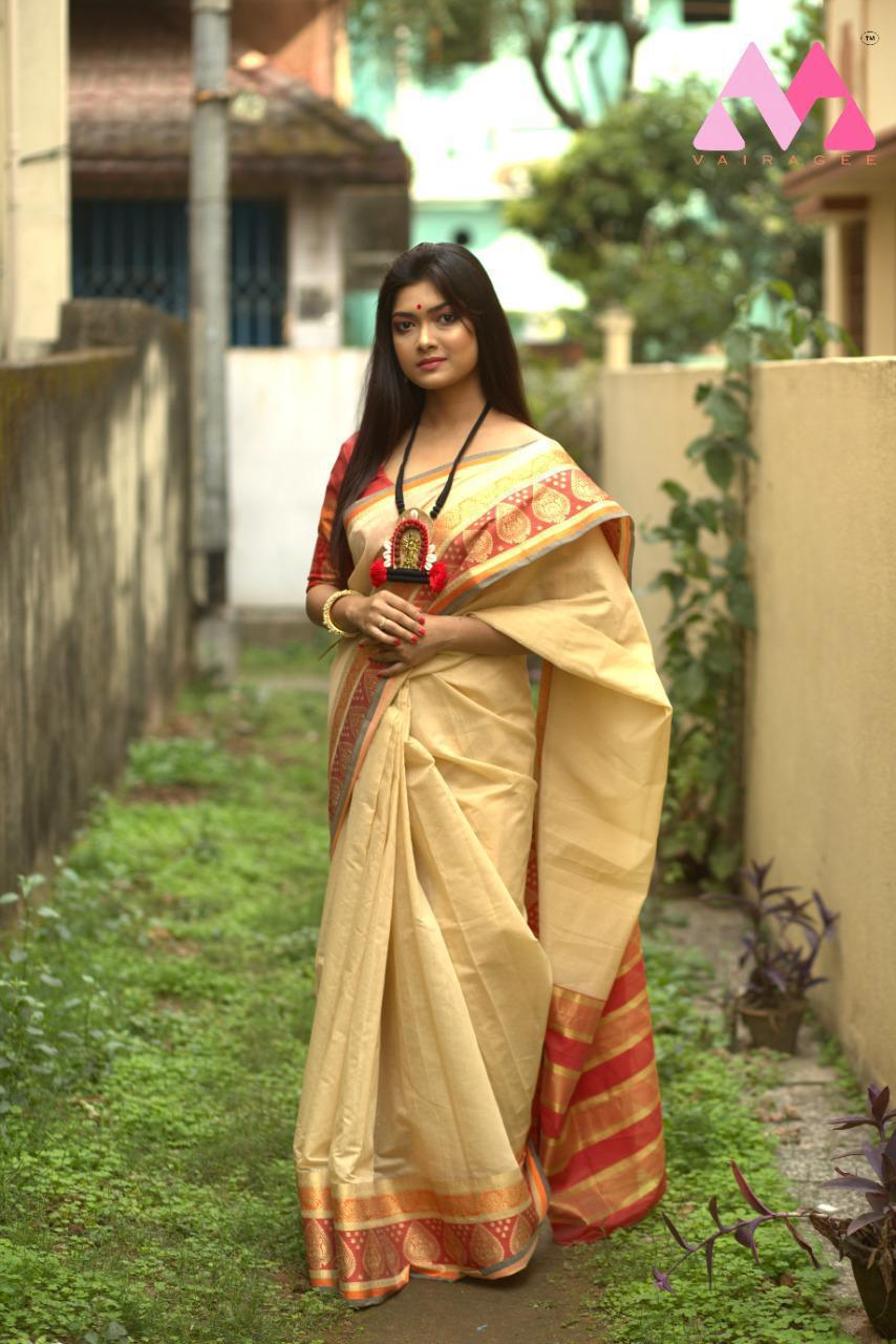 Beige Cotton Silk Embellished Printed Saree