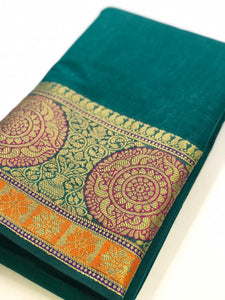 Rama Green Cotton Silk Saree With Jacquard Weaving