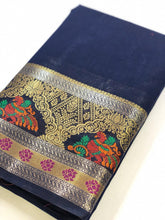 Load image into Gallery viewer, Blue Cotton Silk Embellished Printed Saree